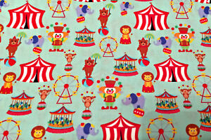 0.5 metre Circus - Mint 100% Cotton Fabric 112cm wide