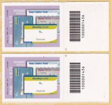 ITALIA Risparmio Postale € 0,75 Anno 2011 Codice a Barre DX- SX