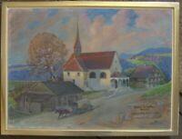 ::Gemälde, sign. Leo Erni, Kapelle Philipp Neri Reußbühl antik Rahmen selten