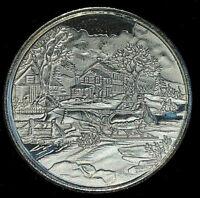 1 oz .999 Fine Silver • Winter Scene Sleigh Ride Art Round