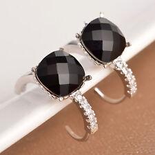 Women Fashion 925 Silver Black Onyx Dangle Stud Huggie Earrings Wedding Jewelry