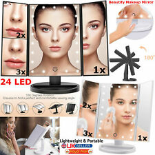 24 LED Light Touch Screen Makeup Mirror Vanity Illuminated Tri-Fold Dimmable UK