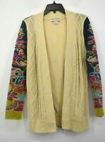 Flying Tomato Womens Tan Paisley Print Cable Knit Open Front Cardigan Sweater M