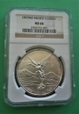 1997 MEXICO LIBERTAD NGC MS68 1 ONZA..999 FINE SILVER ROUND (BROWN LABEL)