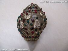 4 Tibet crystal Silver handwork inlay ruby & gemstone beryl Buddha Statue Conch