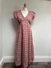 ANOKHI FOR EAST Dress Size 12 Pink Patterned Midi Short Sleeve V Neck Lined Boho