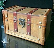 SMALL WOODEN TREASURE CHEST STORAGE BOX JEWELLERY TRINKET KEEPSAKE BOX