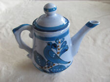 Vintage Tonala Mexico Blue Bird Flowers Butterfly- Coffee Pot with Lid
