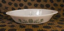 Glasbake Oval Divided  Casserole Baking Dish J2352 Green Crazy Daisy Florals