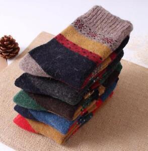 5 Pairs Womens 100% Wool Cashmere Dress Socks Warm Winter Snowflake Best Gift