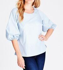 Crossroads Light Blue Cotton Blend Pearl Sleeve Blouse Size 16 Free Post