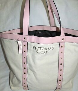 Victorias Secret Pink Studded Cream Canvas Extra Large Tote Gym Travel Book Bag