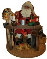 """Santa Claus Figurine Work Bench Cat Toys Candle Tools Christmas Decoration 8.5"""""""