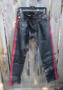 VTG. GENUINE  DIESEL MEN'S TROUSERS / PANTS LEATHER BIKER PANTS BLACK and RED