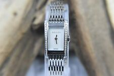WOMEN'S GUCCI 8600L TANK MOTHER OF PEARL DIAL WATCH WITH DIAMONDS