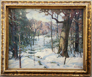 FRED W RYPSAM ORIGINAL 1915 EARLY COLORADO WINTER SNOW LANDSCAPE PAINTING