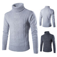 Men's British Sweater Winter Thick Knitted Pullover Turtleneck Casual Knitwear