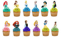 24 UNCUT DISNEY PRINCESS HALF BODY EDIBLE CAKE TOPPERS PREMIUM WAFER CARD