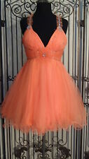 G605  ALYCE PARIS 3519  SZ 10 ORANGE PROM HOMECOMING PAGEANT GOWN DRESS