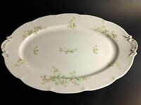 "VICTORIA AUSTRIA PLATTER LARGE 16 5/8"" PINK FLORAL GOLD ACCENT SCALLOPED ANTIQUE"
