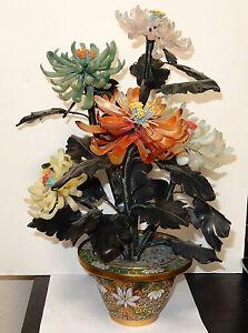 "LARGE CLOISONNE ENAMEL POT CHRYSANTHEMUM JADE FLOWER BLOSSOM 16"" HIGH TREE"