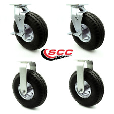 """Service Caster - 10"""" Pneumatic Wheel – 2 Rigid and 2 Swivel Casters w/Brakes"""