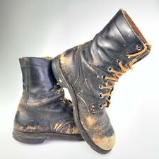 Vintage BF Goodrich Mens distressed Work Boots Black Leather Lace Up 9