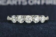 $6300 Hearts On Fire 18K White Gold 5 Stone 1.07ct Diamond Wedding Band Ring 6.5