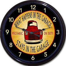 Auto Mechanic Truck Wall Clock What Happens in the Garage Stays in the Garage