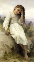 Art Oil painting Bouguereau - Young beauty portrait nice girl in landscape 36""