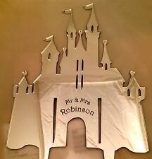 Wedding Cake Topper Fairytale castle Personalised  in Acrylic Mirror Finish