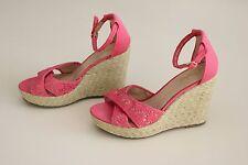 CANDIES SEYMONE Women's Sz 10 Wedge Platform Sandal Shoes Espadrilles Coral Lace