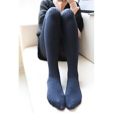 New Fashion Autumn Winter Elastic Thick Woman Polyester Striped Pantyhose Tights