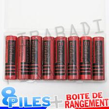 8 PILES ACCUS RECHARGEABLE 18650 3.7V 3800mAh Li-ion + BOITE DE RANGEMENT OFFERT