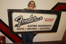 """Large Fender Electric Guitars Amplifiers Music Store Gas Oil 48"""" Metal Sign"""