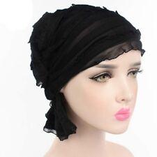Fashion Womens Chiffon Ruffle Cancer Chemo Hat Beanie Scarf Turban Head Wrap Cap
