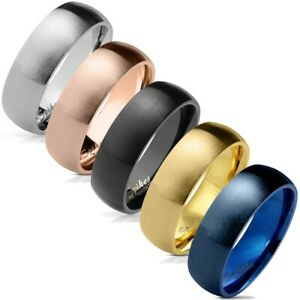 Stainless Steel Domed Brushed Wedding Band Ring Blue-Black-Gold (Five Colors)