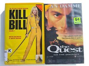 Kill Bill feat Uma Thurman & The Quest feat Vandamme VHS : Action 2 video bundle