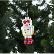 Festive Hand Painted  Multi Colour Robot Hanging Christmas Xmas Tree Decoration