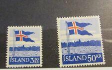 Iceland Scott #313 314 ** MNH Flags, very fine + 102 card, superfleas