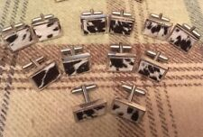 Quality Cufflinks inlaid with Cow Hide. Silver or Gold finish
