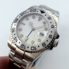 43mm Sterile White Dial Luminous Date GMT Sapphire Automatic Movement mens Watch