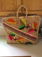 Mexico Jute Straw Tote/Shopper/Beach Bag XL Vintage