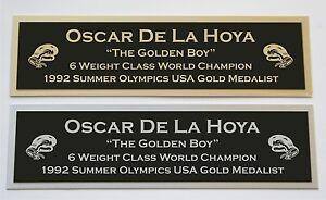 Oscar De La Hoya nameplate for signed boxing gloves trunks photo