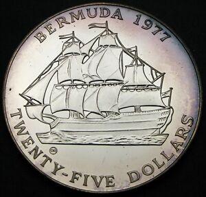 BERMUDA 25 Dollars 1977 CHI - Silver - Silver Jubilee - Elizabeth II.- aUNC - M*
