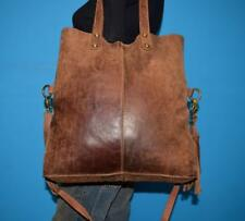 LUCKY BRAND DISTRESSED Brown Leather Shopper Satchel Carryall Tote Purse Bag