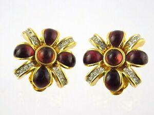 Vtg Nina Ricci Goldtone Metal and Rhinestone Clip on Earrings Red Brown Gems