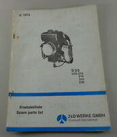 Parts Catalog/Spare Parts List Ilo Allzweck-Motor S 35 Stand 06/1975