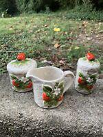 Sears 1981 Made in Japan Strawberry Pottery Cream & Sugar~Napkin Holder~Salt