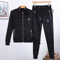 PHILIPP PLEIN Black Skulls Men Long Sleeve Sports Suit PS865B# Size M-3XL